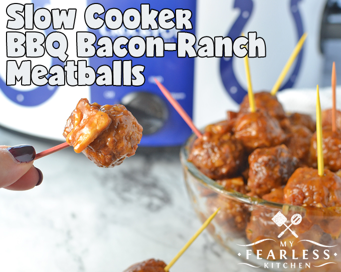 Slow Cooker BBQ Bacon-Ranch Meatballs from My Fearless Kitchen. Do you need something quick, saucy, and flavorful? These Slow Cooker BBQ Bacon-Ranch Meatballs are perfect for an appetizer, a tailgate snack, or dinner!