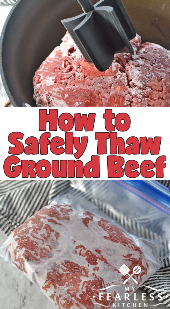 How to Safely Thaw Ground Beef from My Fearless Kitchen. Dinner running late? Here are our best tips to safely thaw ground beef, whether you're planning ahead or you're in a rush to get dinner on the table. #kitchentips #kitchenhacks #foodsafety #groundbeef