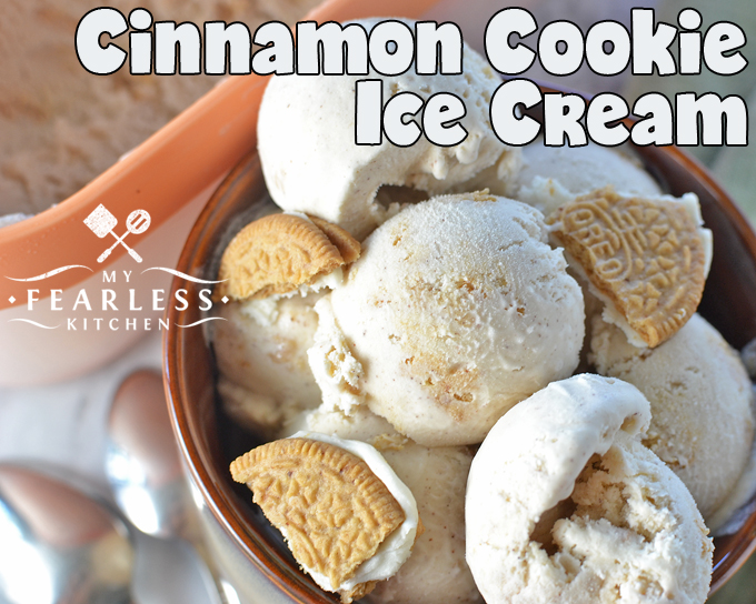Cinnamon Cookie Ice Cream from My Fearless Kitchen. If you love cinnamon and Oreos, you'll love this simple Cinnamon Cookie Ice Cream! It's the perfect dessert for a hot summer day or a cool fall night.