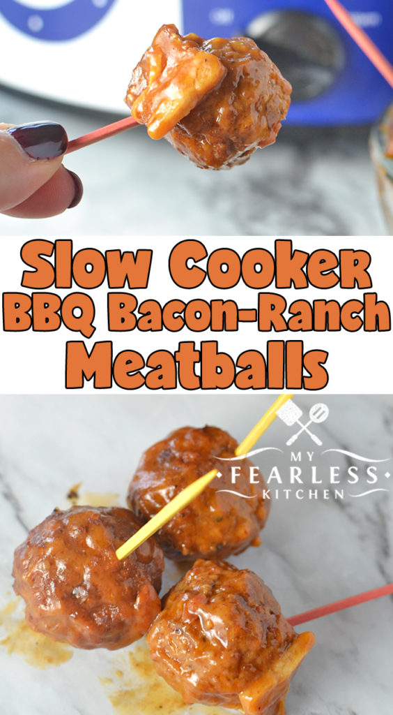 Slow Cooker BBQ Bacon-Ranch Meatballs from My Fearless Kitchen. Do you need something quick, saucy, and flavorful? These Slow Cooker BBQ Bacon-Ranch Meatballs are perfect for an appetizer, a tailgate snack, or dinner! #easyrecipes #slowcooker #crockpot #meatballrecipes #groundbeefrecipes