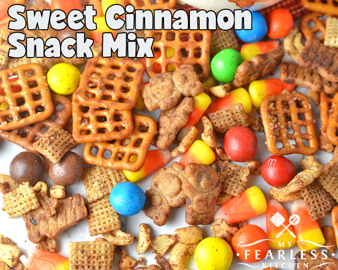Sweet Cinnamon Snack Mix from My Fearless Kitchen. This simple Sweet Cinnamon Snack Mix is so much fun to eat! it's fast to put together is perfect for an after school snack or easy munchies for a party.