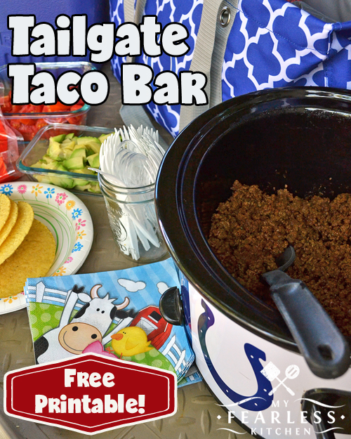 Tailgate Taco Bar from My Fearless Kitchen. Whether you're heading to your favorite college or professional football game, an after-school activity, a fun weekend picnic, or just a quick lunch by the side of the field, this Tailgate Taco Bar is going to be a huge hit!