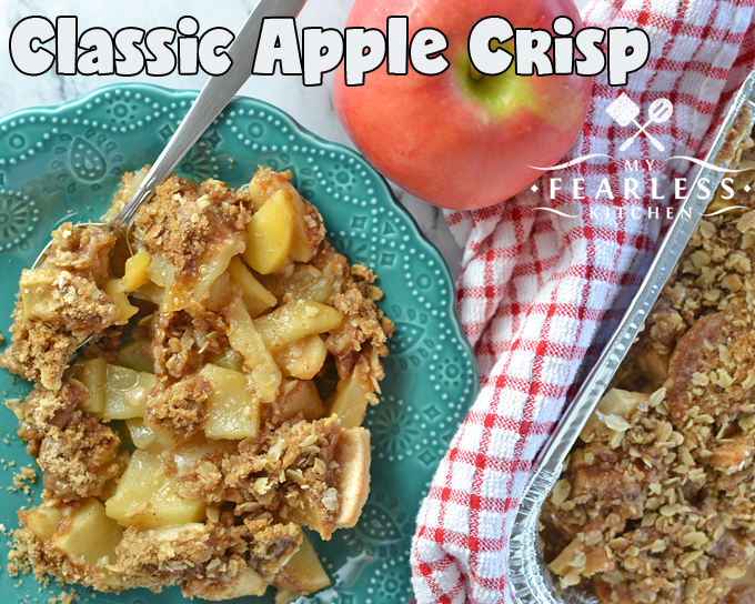 Classic Apple Crisp from My Fearless Kitchen. If you're looking for a traditional fall dessert, this Classic Apple Crisp is it! It's so simple, and it tastes just like the recipe Grandma used to make.