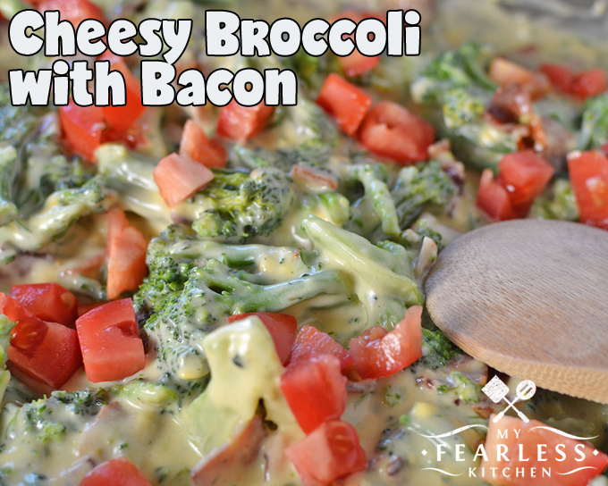 Cheesy Broccoli with Bacon from My Fearless Kitchen. Do you need a delicious side dish to go with dinner tonight? Make a double batch, this easy Cheesy Broccoli with Bacon will have everyone asking for seconds!