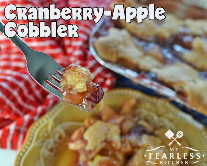 Cranberry-Apple Cobbler from My Fearless Kitchen. The tasty combination of cranberries and apples in this simple Cranberry-Apple Cobbler will be the perfect dessert for all your fall meals!