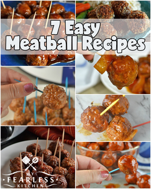 7 Easy Meatball Recipes from My Fearless Kitchen. This list of 7 Easy Meatball Recipes includes Handmade Freezer Meatballs, Slow Cooker Honey-BBQ Meatballs, BBQ Bacon-Ranch Meatballs, Cranberry Meatballs, and more!