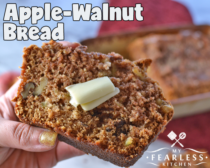 Apple-Walnut Bread from My Fearless Kitchen. This Apple-Walnut Bread is delicious warm out of the oven with a little butter, warmed in the toaster oven later, or a thick slice for a quick breakfast as you run out the door.