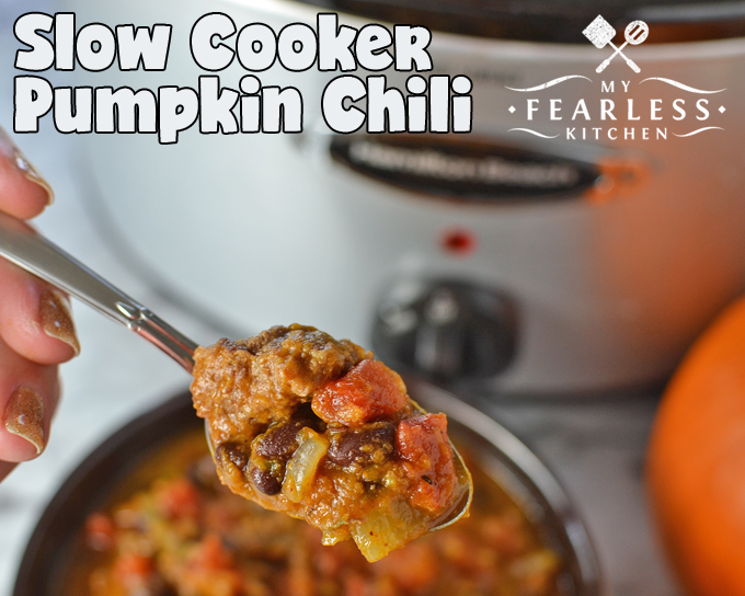 Slow Cooker Pumpkin Chili from My Fearless Kitchen. This Slow Cooker Pumpkin Chili is so easy to make, and the perfect way to warm up on a cold day. No one will ever guess your secret ingredient is pumpkin!