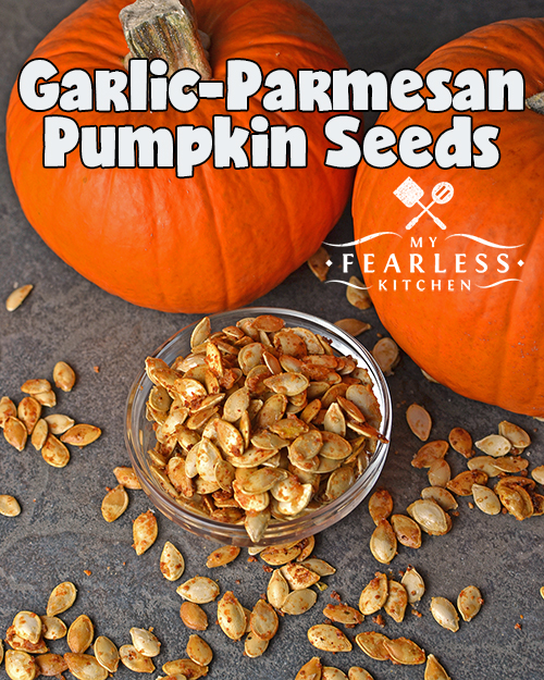 Garlic-Parmsean Pumpkin Seeds from My Fearless Kitchen. These Garlic-Parmesan Pumpkin Seeds are an easy, savory snack. Enjoy them by themselves, toss a few on a salad, or add to your favorite snack mix!