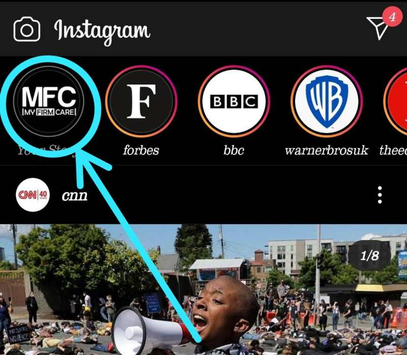 Add a Swipe Up Link to Instagram story step 1