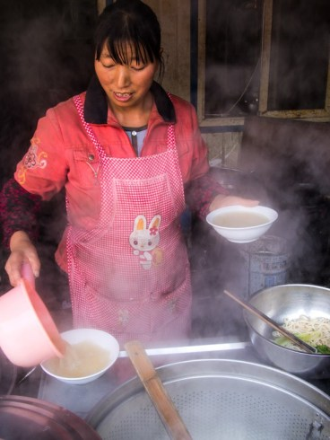 Soup's on at the noodle stall, Taiyuan market.
