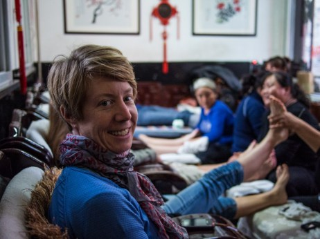 Jane enjoying a relaxing foot massage with 17 of her closest friends in Pingyao.