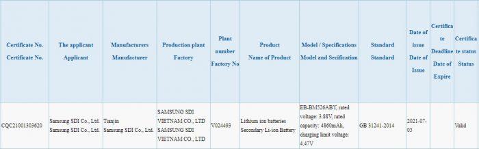 Galaxy M52 5G 3C listing