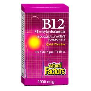 Natural Factors, Витамин B12 Метилкобаламин 1000 мкг. х 180 таблетки