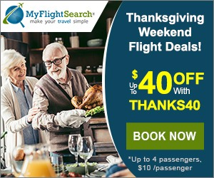 Cheap Thanksgiving Flight Reservation on MyFlightSearch. Save up to $40** off our fee with promo code – THANKS40. Book Now!