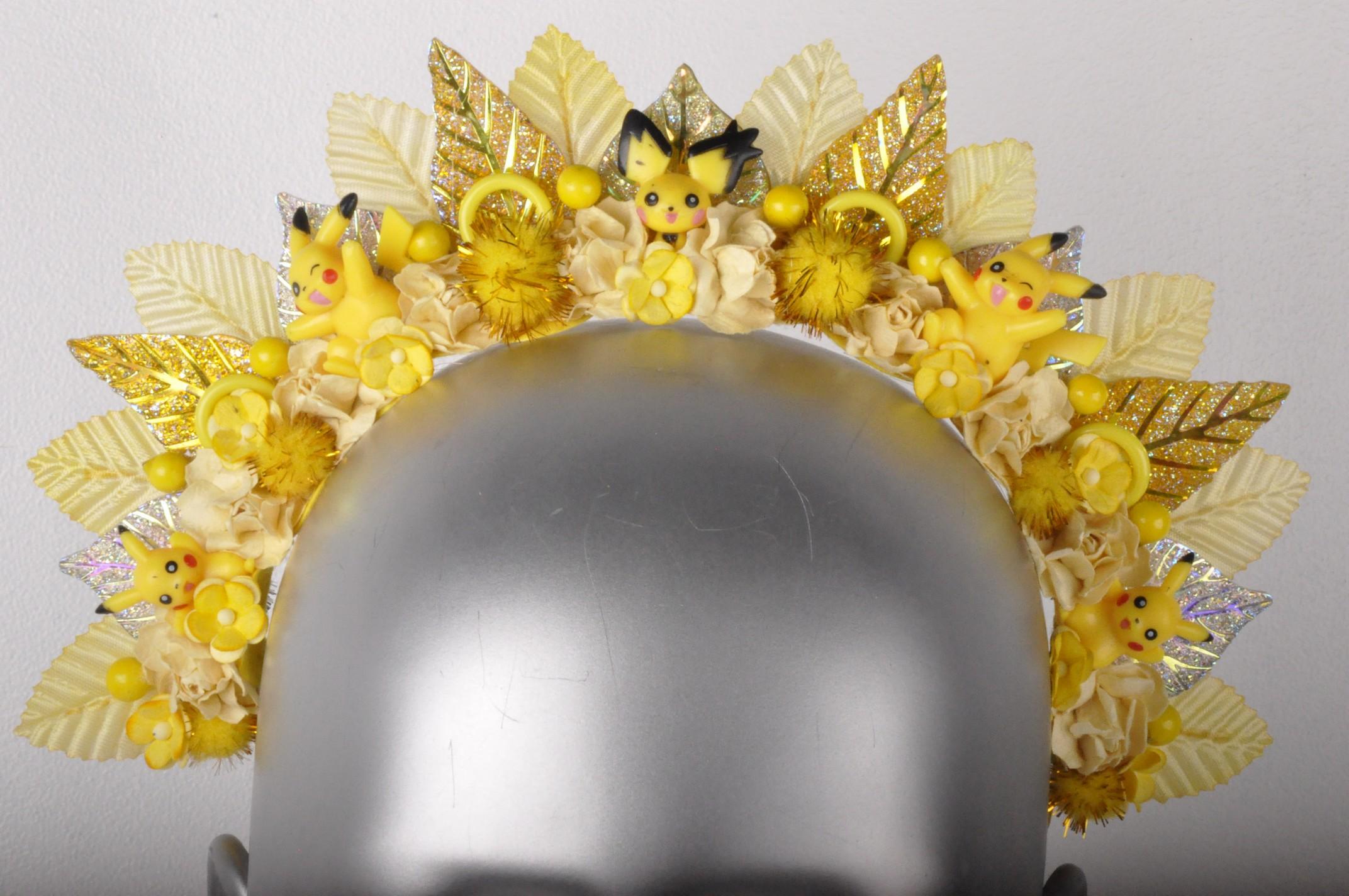 Yellow Rose Pikachu Sparkle Pokemon Spike Flower Headband Crown ... a43eb232497