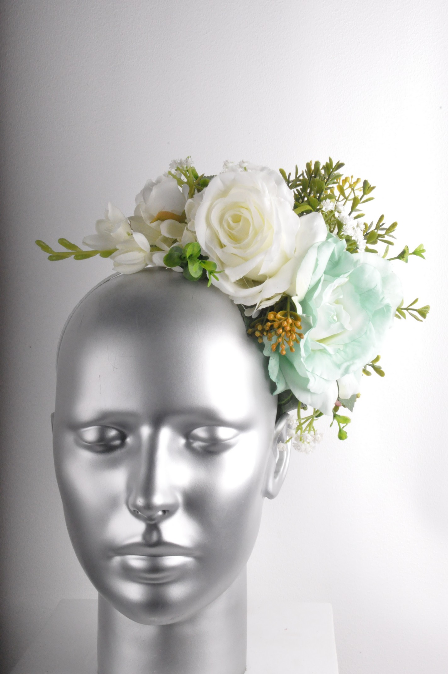 Yellow Mint Teal Rose Peony Floral Fascinator Headband Wedding Raceday 4a24894adde