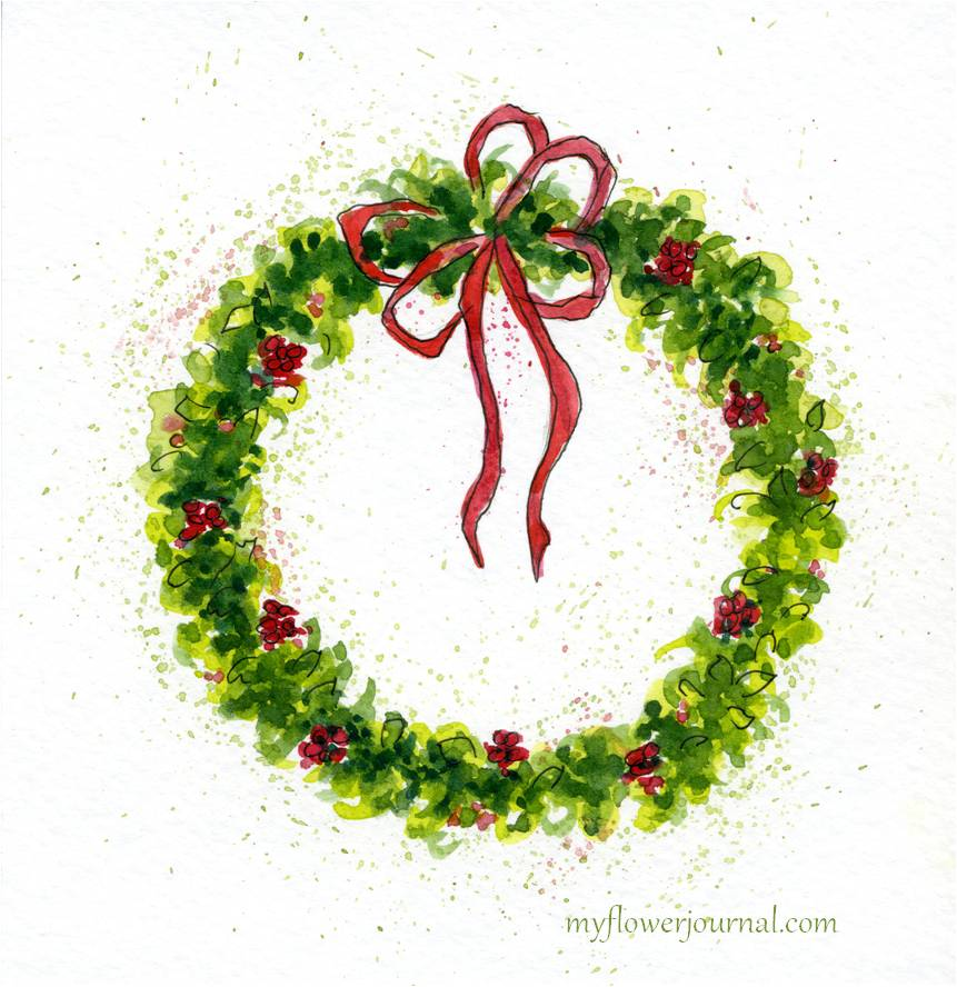 How To Paint A Watercolor Christmas Wreath My Flower Journal