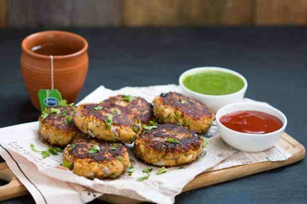 Healthy north indian style peas potato and paneer tikkis are the perfect, easy appetizer for chilly evenings or when you have guests over!