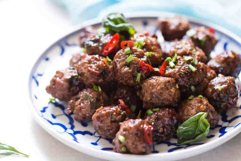 Thai Spiced Sticky Basil Meatballs