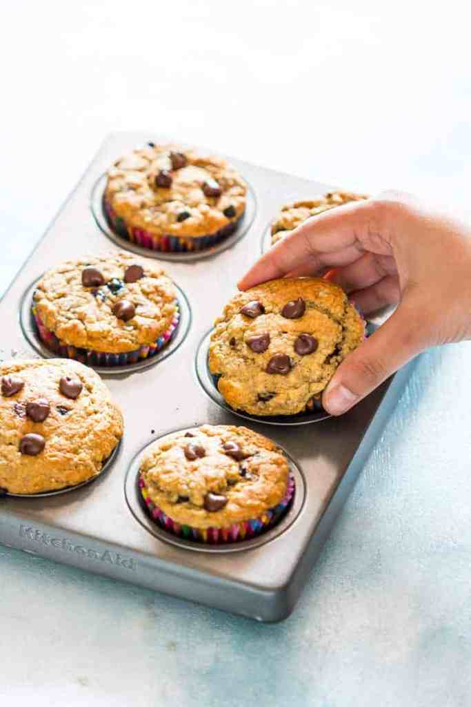 Healthy Oatmeal Banana Chocolate Chip Muffins