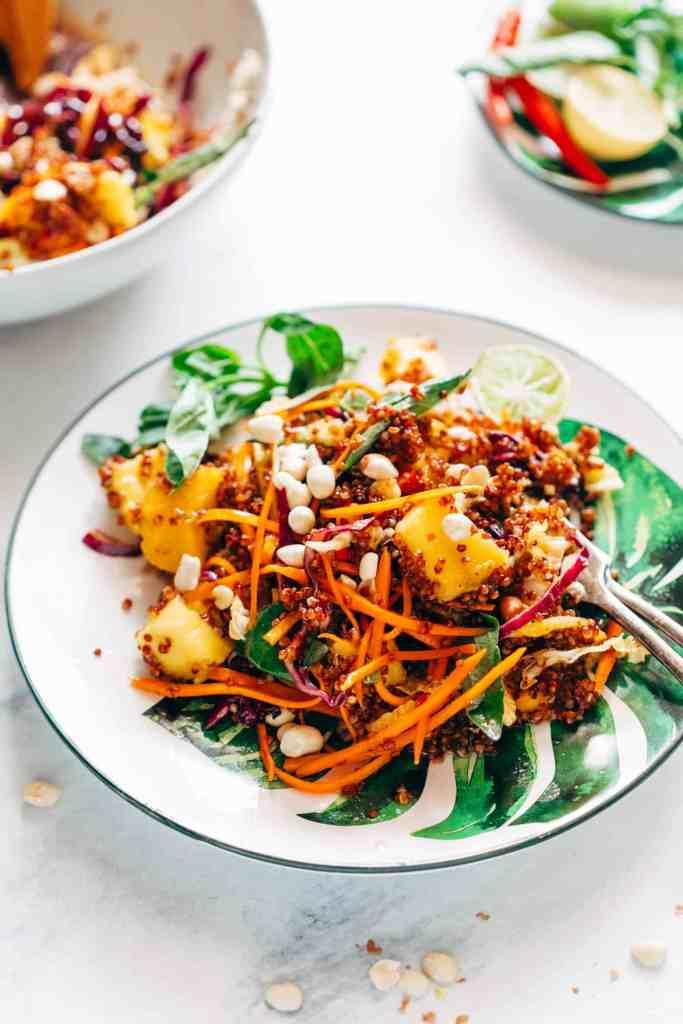 Thai Peanut Mango Quinoa Salad (Gluten Free, Vegan)