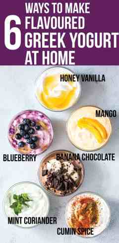 These six healthy Greek yogurt flavorsare homemade and will become your breakfast buddies. Pick between honey vanilla, mango, blueberry, banana chocolate, mint coriander and cumin spice Greek yogurt or just make them all! No processed sugar, no fruit syrup or preservatives - just clean, healthy ingredients! You'll never go back to buying store bought flavoredyogurt again.