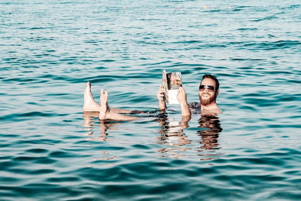 Floating on the dead sea in Jordan - leave to the end of the itinerary to soak weary feet