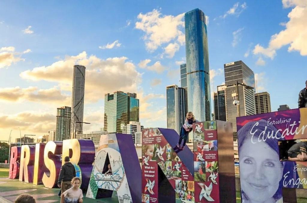 Brisbane sign - exploring Brisbane on a budget