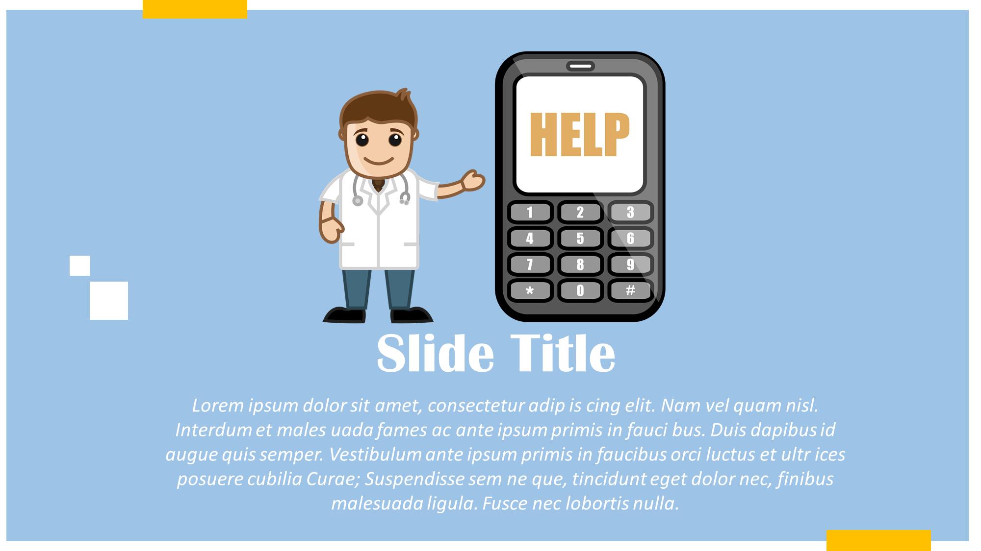 Helpline Over Mobile Medical Cartoon