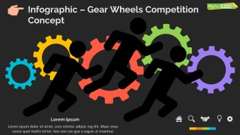 Infographic Slide Gear Wheels Competition Concept Dark