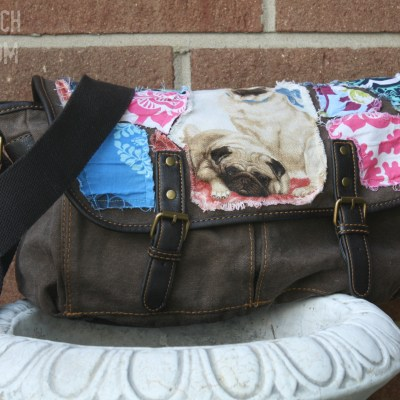 fabric embellished messenger bag