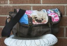 fabric embellished messenger bag