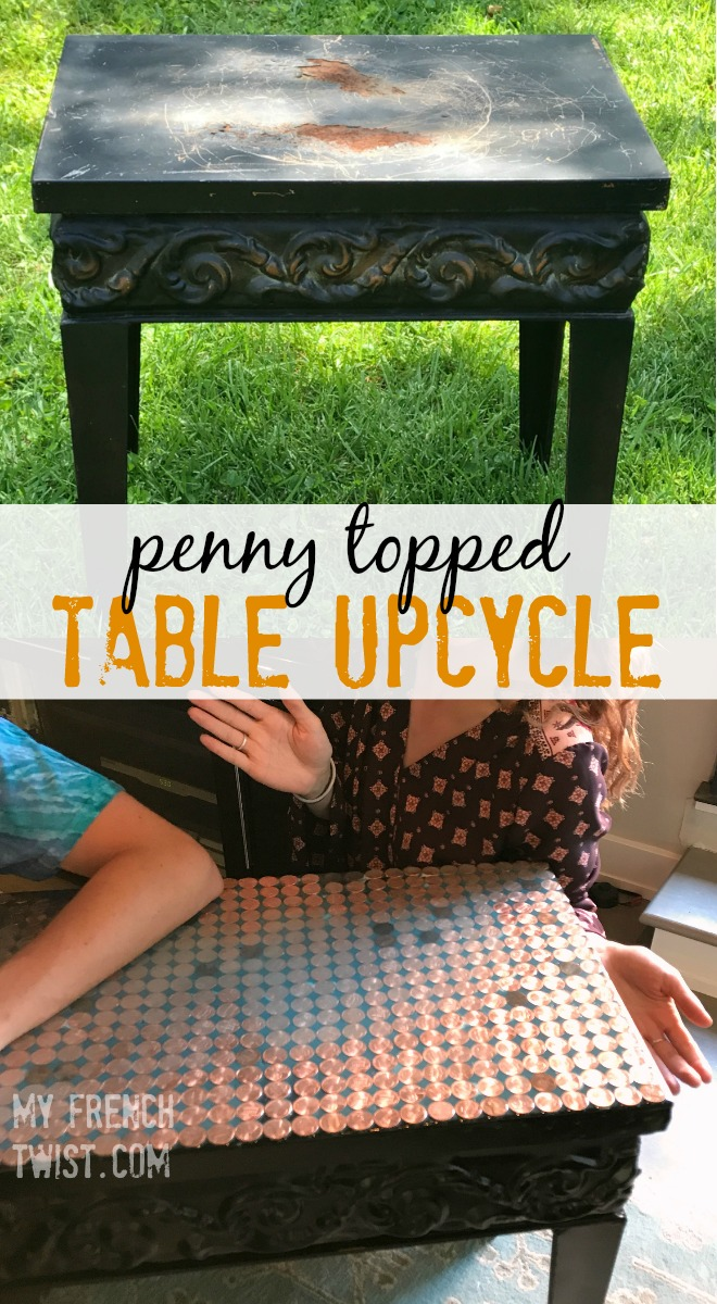 penny topped table upcycle - myfrenchtwist.com