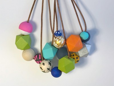 wooden bead key chains