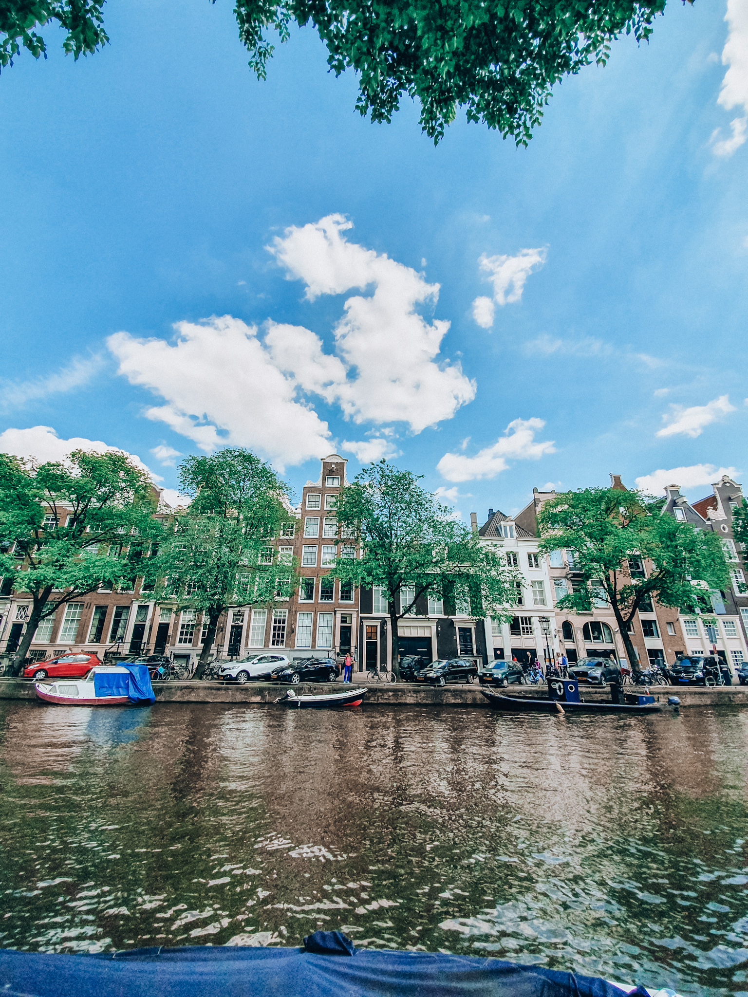 Houses of Amsterdam with blue sky