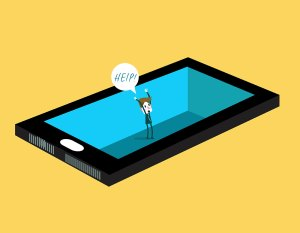 Image of a man trapped in an iPad shouting for help