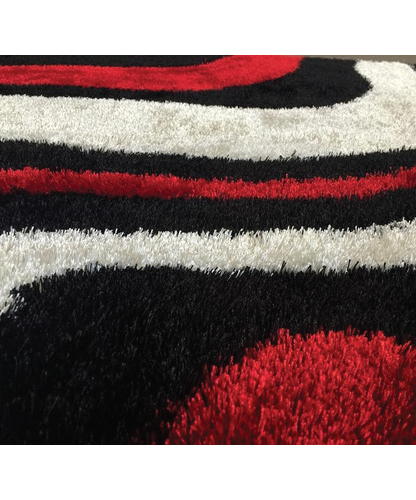 Lo La Shag Black And Red Area Rug