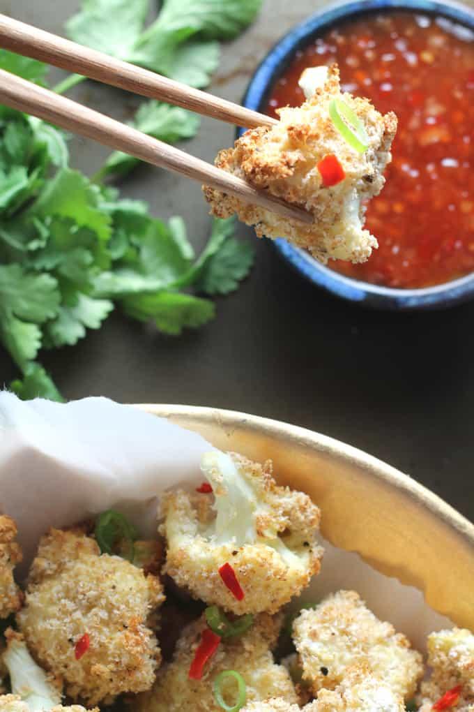 baked salt and pepper cauliflower bites poppers
