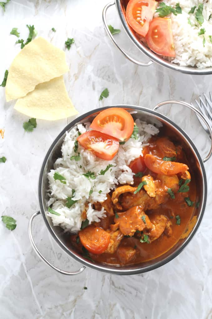 A quick and easy cook-from-scratch Chicken, Coconut & Tomato Curry recipe. Super mild and suitable for kids!
