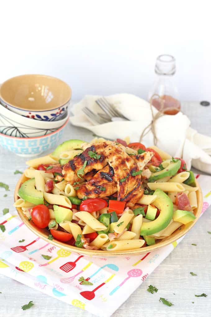 Bacon Avocado Pasta Salad with Honey Mustard Chicken | My Fussy Eater