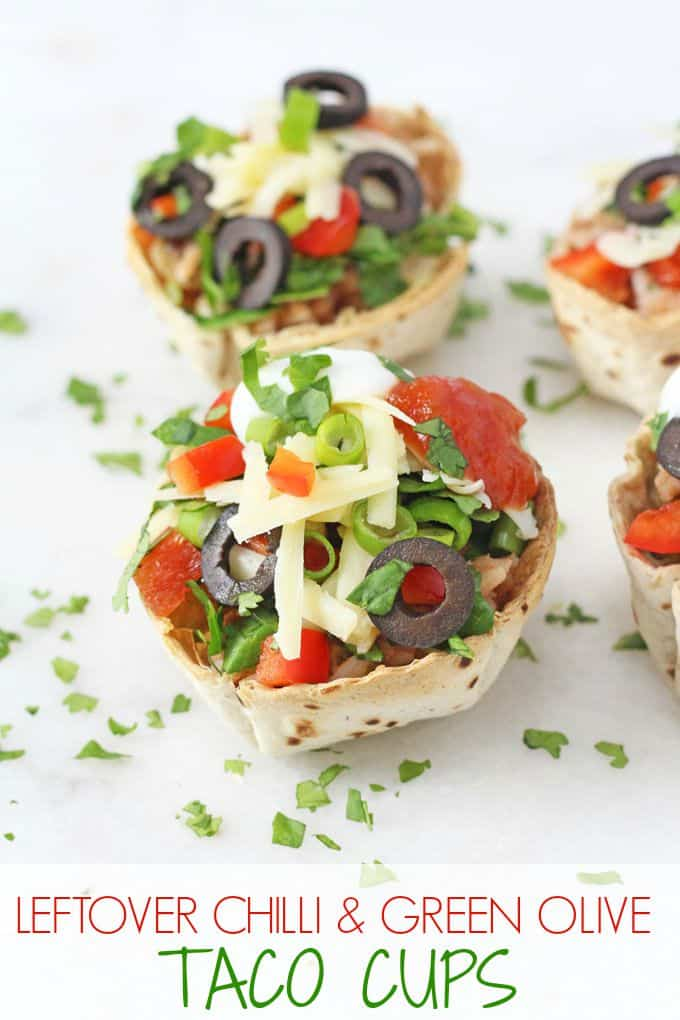 Use up leftover chilli and rice to make these quick and easy Taco Cups filled with green and black olives, cheese and red peppers | My Fussy Eater blog