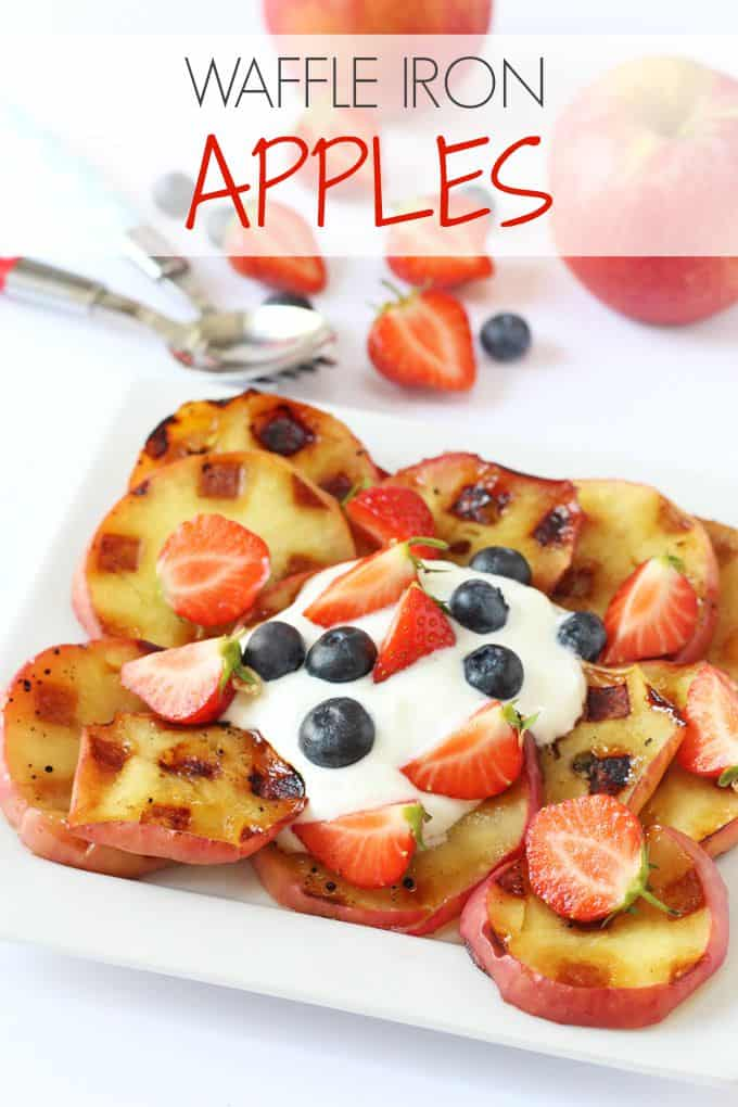 Apples cooked on a waffle iron make a delicious and healthy dessert or snack for kids! | My Fussy Eater blog