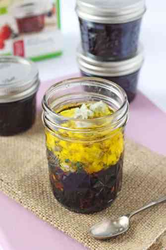 A delicious sweet and tangy salad dressing made with blackberry jam, balsamic vinegar and blue cheese | My Fussy Eater blog