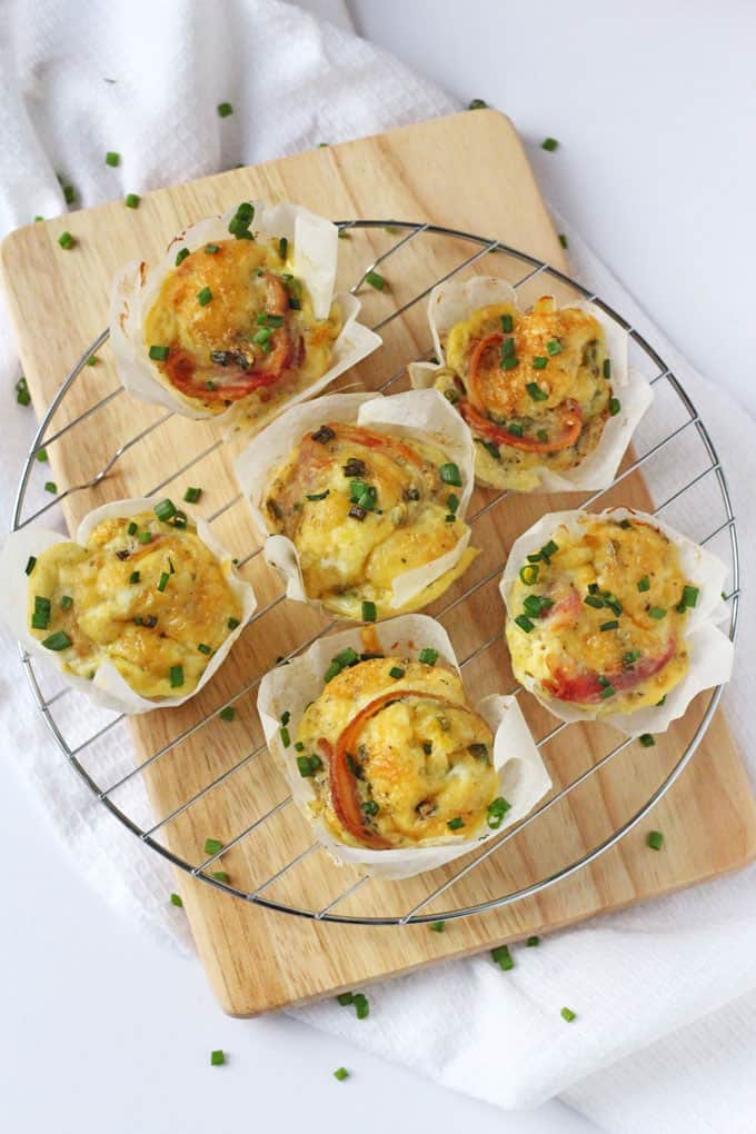 The whole family will love these delicious Egg Muffins packed with streaky bacon, cheddar cheese and chives! | My Fussy Eater blog