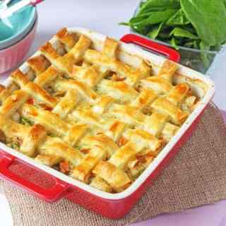 Cheesy Chicken & Sausage Lattice Pie