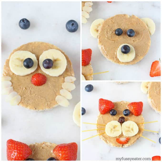 Rice Cake Animals! A fun and healthy snack for kids and toddlers made with rice cakes, peanut butter and fruit | My Fussy Eater blog