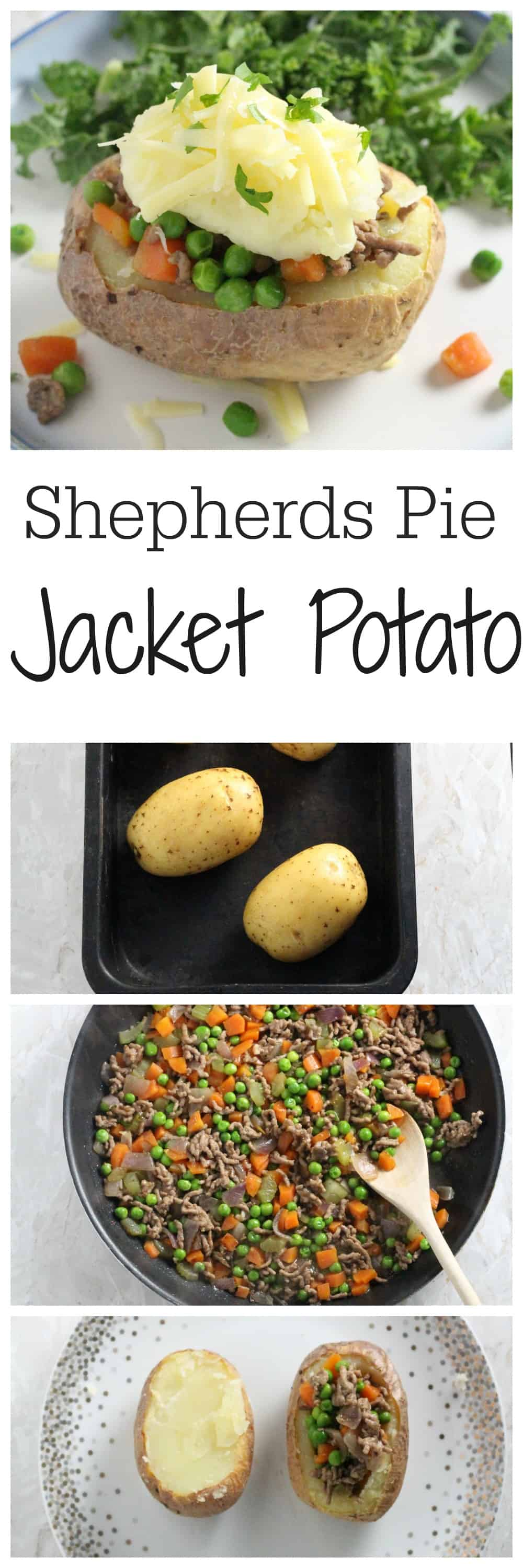 A fun teatime treat for the whole family; jacket potatoes baked in the oven and filled with a delicious shepherds pie filling | My Fussy Eater blog