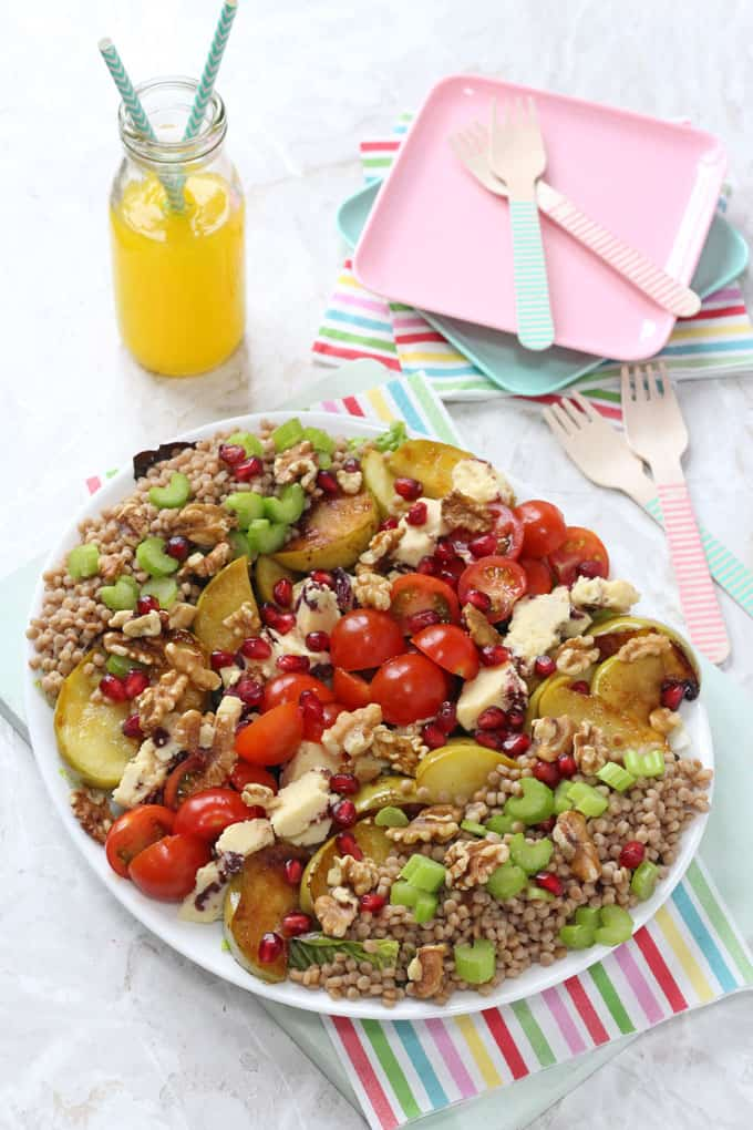 A delicious summer salad made with caramelised Bramley Apples and packed with giant wholewheat cous cous, Wensleydale cheese and walnuts.