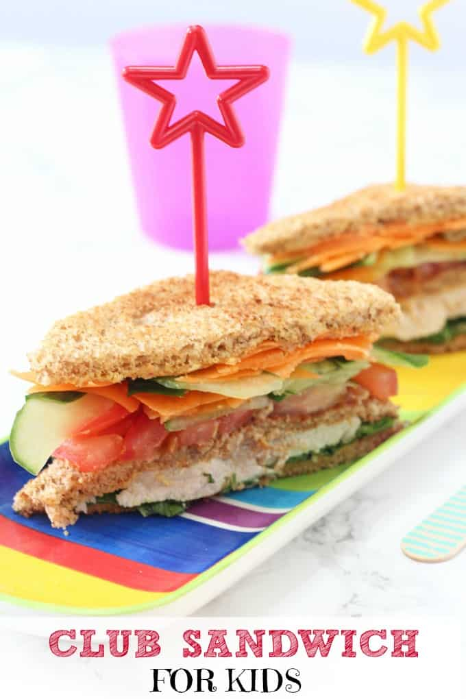 Packed with chicken, hummus and veggies this Club Sandwich makes a really tasty and healthy lunch recipe for kids!